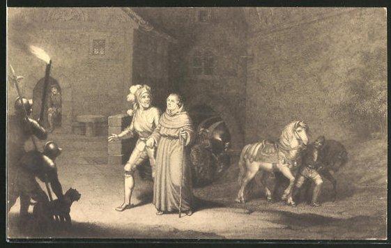 AK Martin Luthers Ankunft auf der Wartburg am 04. Mai 1521