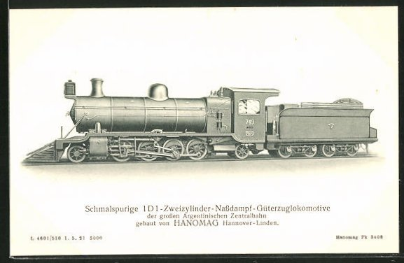 AK Schmalspurige Zweizylinder-Nassdampf-Güterzuglokomotive der grossen Argentinischen Zentralbahn