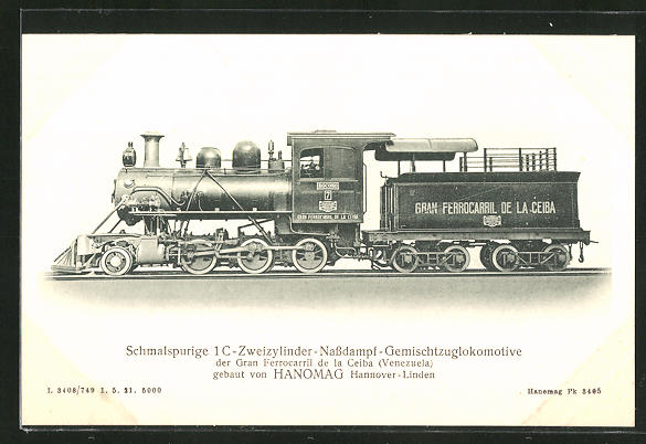 AK Schmalspurige 1 C-Zweizylinder-Nassdampf-Gemischtzuglokomotive der Gran Ferrocarril de la Ceiba (Venezuela)