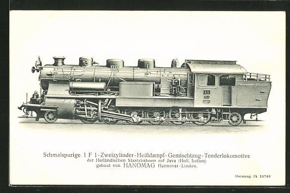 AK Schmalspurige Zweizylinder-Heissdampf-Gemischtzug-Tenderlokomotive der Holländischen Staatsbahnen auf Java