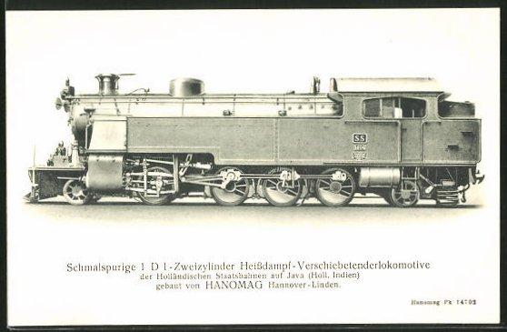 AK Schmalspurige Zweizylinder Heissdampf-Verschiebetenderlokomotive der Holländischen Staatsbahnen auf Java