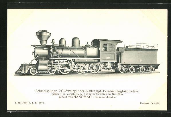 AK Schmalspurige Zweizylinder-Nassdampf-Personenzuglokomotive verschiedener Bahngesellschaften in Brasilien