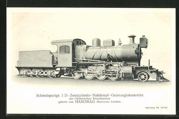 AK Schmalspurige 1 D-Zweizylinder-Nassdampf-Güterzuglokomotive der Chilenischen Staatsbahnen