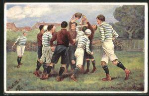 Künstler-AK Szene aus einem Rugby-Spiel