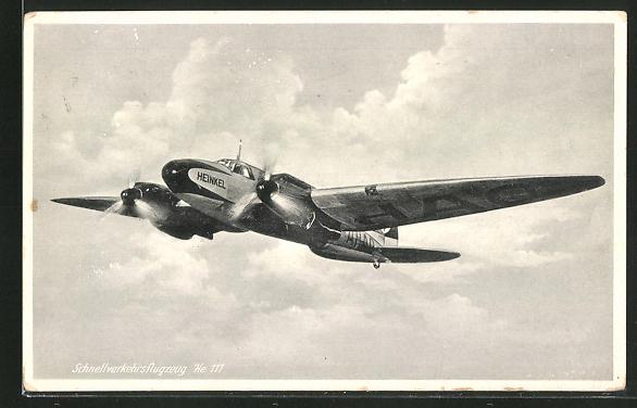 AK Schnellverkehrsflugzeug Heinkel He 111 im Fluge
