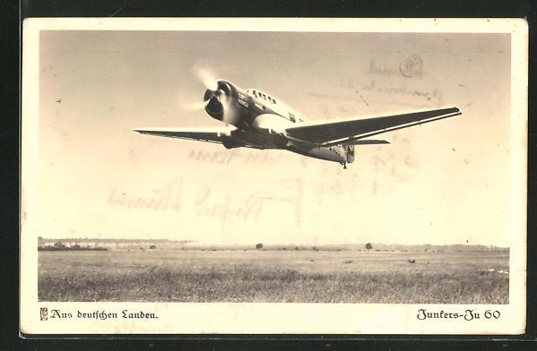 AK Schnellverkehrsflugzeug Junkers Ju 60 beim Start