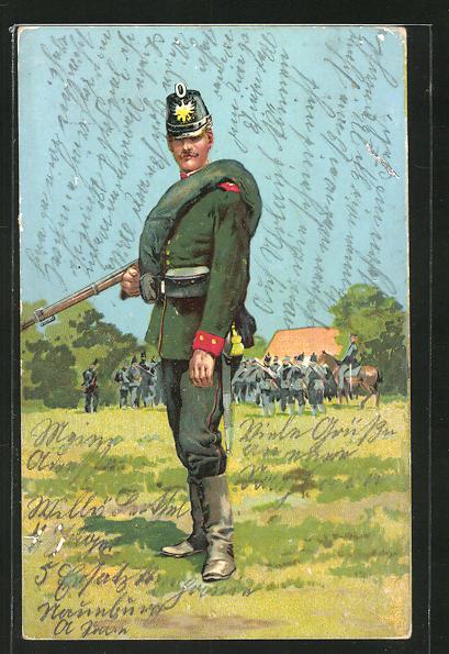 AK Jäger in Uniform mit Tschako