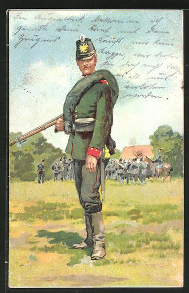 AK Jäger in Felduniform mit Tschako