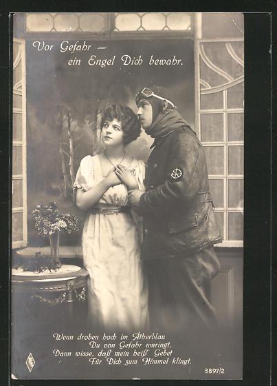AK Liebespaar, junger Pilot mit hübschem Fräulein am Fenster