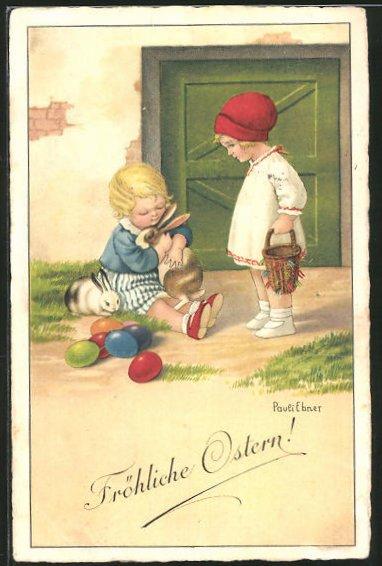 Künstler-AK Pauli Ebner: Kinder spielen mit Kanninchen