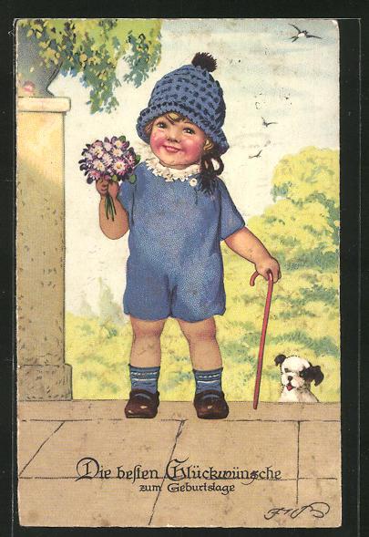 Künstler-AK Fritz Baumgarten: Kleiner Junge mit blauer Mütze