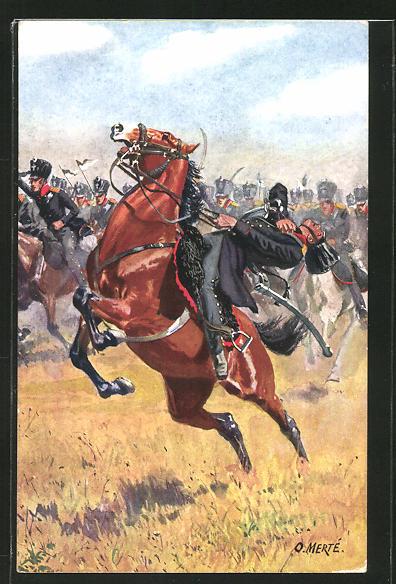 Künstler-AK O. Merte: Völkerschlacht 1813, Preussische Landwehr-Kavallerie, Reitertod