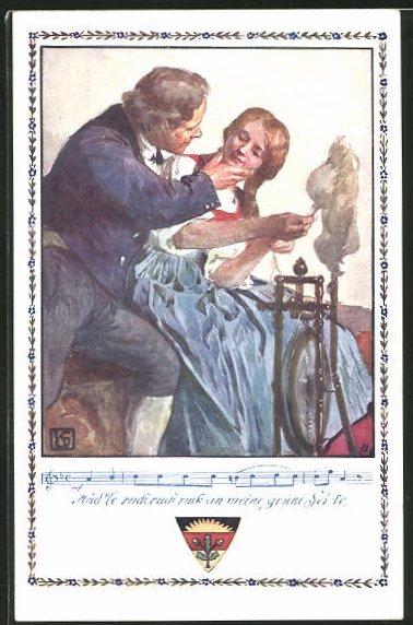 Künstler-AK Karl Friedrich Gsur: Deutscher Schulverein Nr.366: Junge Frau mit Mann am Spinnrad