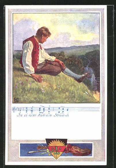 Künstler-AK Karl Friedrich Gsur: Deutscher Schulverein Nr.371: Mann sitzt auf einem Hügel und blickt ins Tal