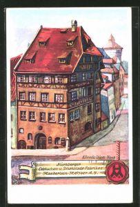 Künstler-AK Nürnberg, Albrecht Dürer-Haus, Lebkuchen- und Schokolade Fabriken Haeberlein-Metzger A.G.