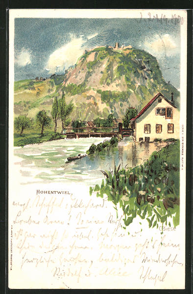 Künstler-AK Carl Biese: Hohentwiel, Panorama