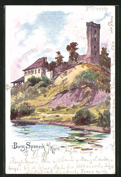 Künstler-AK Carl Biese: Burg Sponeck a. Rhein vom Ufer aus