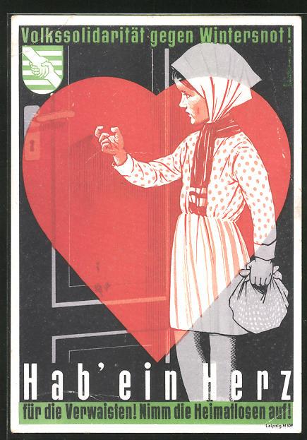 AK DDR-Propaganda, Volkssolidarität gegen Winternot, Hab ein Herz
