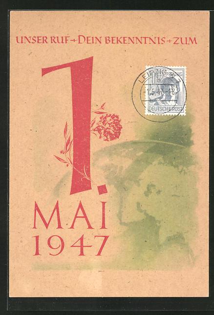 AK DDR-Propaganda, Feiertag zum 1.Mai 1947