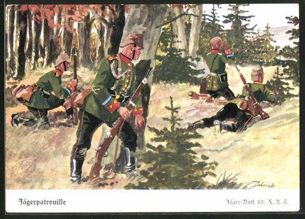 Künstler-AK Döbrich-Steglitz: Jägerpatrouille im Wald, Jäger Batl. 10. X.