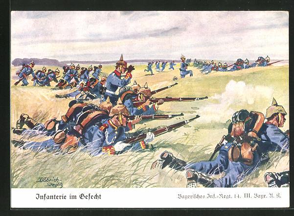 Künstler-AK Döbrich-Steglitz: Infanterie im Gefecht, Bayerisches Inf.-Regt. 14. III.