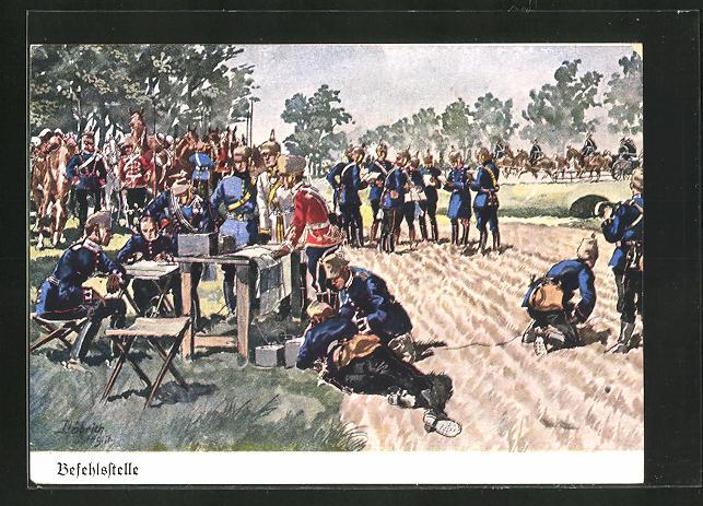 Künstler-AK Döbrich-Steglitz: Befehlsstelle, Soldaten bei der Besprechung auf dem Feld
