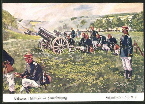 Künstler-AK Döbrich-Steglitz: Schwere Artillerie in Feuerstellung, Fussartillerie 7. VII.