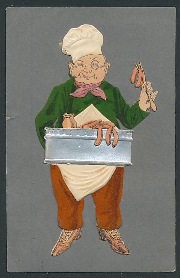 Filz-AK Würstchenverkäufer in Arbeitskleidung aus Filz
