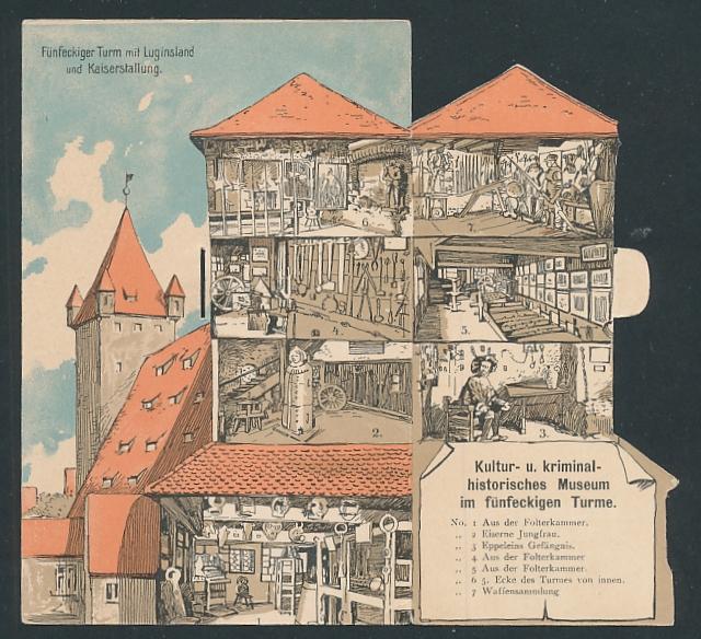 Mechanische-AK Nürnberg, Fünfeckiger Turm mit Luginsland und Kaiserstallung, Innenansicht mit Museum nach Aufklappen