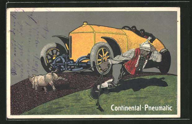 AK Auto bremst für ein Schwein auf der Strasse, Reklame für Continental-Pneumatic