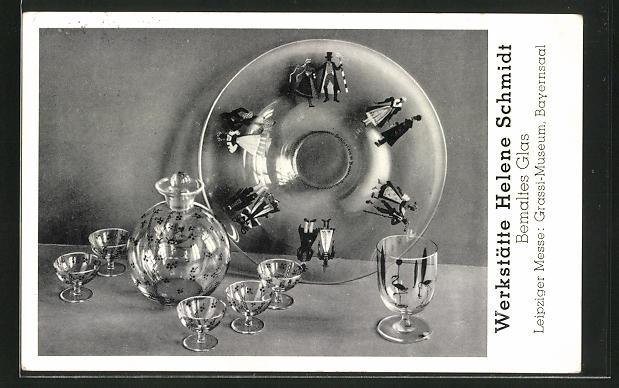 AK Leipzig, Leipziger Messe, Grassi-Museum, Bayernsaal, Werkstätte Helene Schmidt, Art Deco, Bemaltes Glas