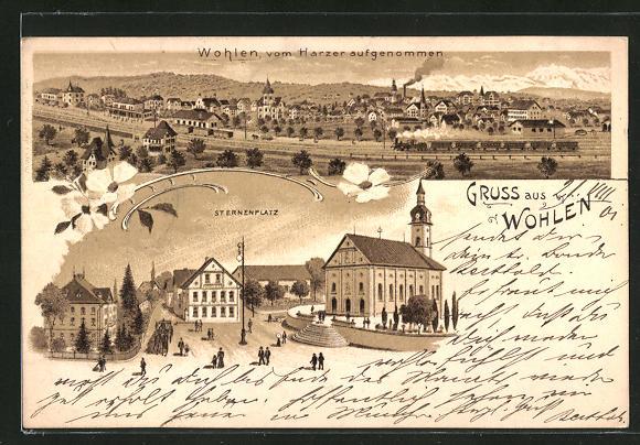 Lithographie Wohlen, Sternenplatz mit Hotel Sternen und Kirche, Panorama