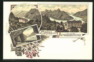 Lithographie Morschach, Hotel Axenfels, Axenstrasse mit Blick auf den Vierwaldstättersee