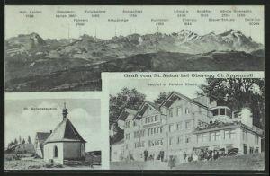 AK Oberegg, Gasthof-Pension Rössle & St. Antonskapelle am St. Anton, Gebirgspanorama