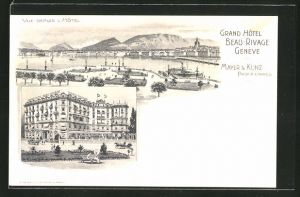 Lithographie Geneve, Grand Hotel Beau-Rivage, Panorama