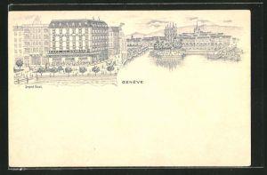 Lithographie Geneve, Grand Quai, Cafe de Geneve