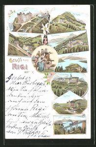 Lithographie Rigi, Rigi-Kulm, Rigi-Klösterli, Rigi Staffel, Rigi Kaltbad, Rigi Känzeli, Rigi Scheidegg, Rigi First
