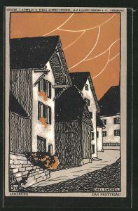 Künstler-AK Lenzburg, Häuser in einer Strasse