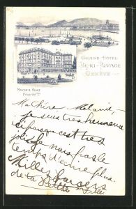 AK Geneve, Grand Hotel Beau-Rivage, Mayer & Kunz, Ortsansicht