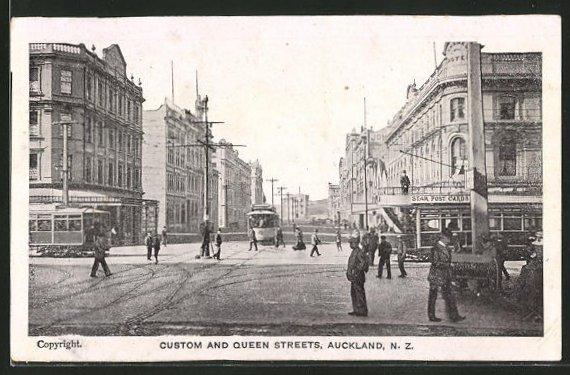 AK Auckland, Custom and Queen Streets, Strassenbahn