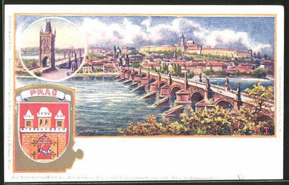 Künstler-AK Prag / Praha, Blick auf die Karlsbrücke und die Moldau
