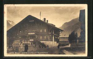 AK Maloja, Hotel Schweizerhaus mit Osteria vecchia im Segantinihaus