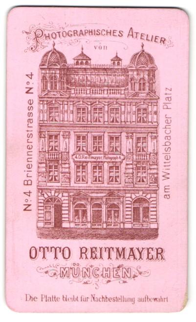 Fotografie Otto Reitmayer, München, rückseitige Ansicht München, Atelier Briennerstrasse 4, vorderseitig Portrait