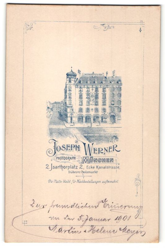 Fotografie Joseph Werner, München, rückseitige Ansicht München, Atelier Isarthorplatz 2, vorderseitig Portrait Hochzeit