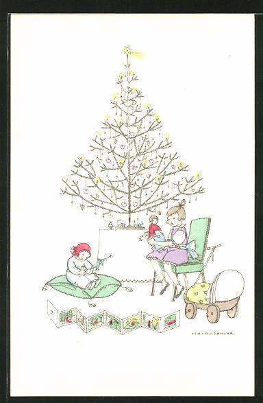 Künstler-AK Mela Köhler: Kinder mit Spielzeug unterm Weihnachtsbaum