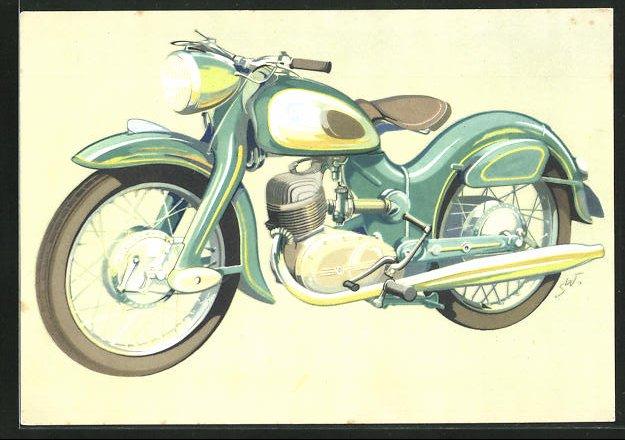 AK Motorrad NSU-Superlux mit 11 PS in Jadegrün