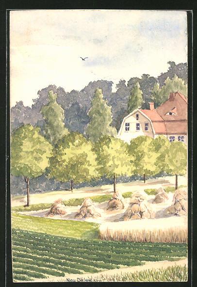 Künstler-AK Handgemalt: Halle / Saale-Dölau, Ortspartie in Neu-Dölau, Maler J. Walter, Halle an der Saale