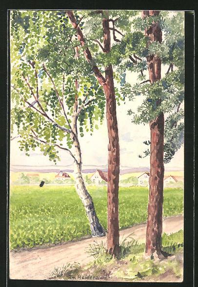 Künstler-AK Handgemalt: Halle / Saale, Partie am Heiderand, Maler J. Walter, Halle a. S.