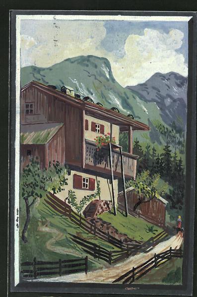 Künstler-AK Handgemalt: Haus in den Bergen, Maler J. Walter, Halle a. d. Saale