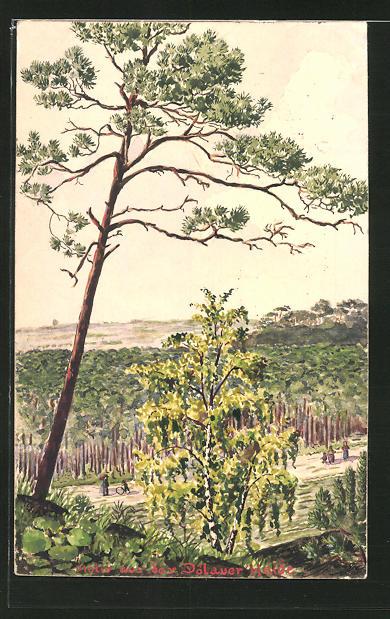 Künstler-AK Handgemalt: Halle / Saale-Dölau, Motiv aus der Dölauer Heide, Maler J. Walter, Halle a. d. Saale